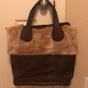 Leather faux fur handbag NWOT brown tan